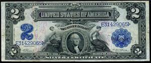 Серебрянный сертификат 2 доллара 1899 года