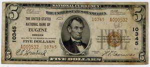5 долларов 1929 года серия National Bank Notes