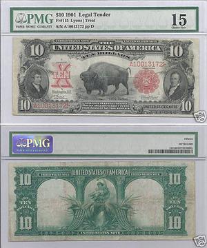 Legal tender 10 долларов 1901 Bison
