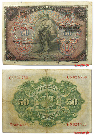 Billete 50 pesetas 1906, Espana