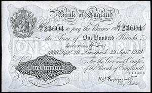 Билет 100 фунтов 1936, Англия