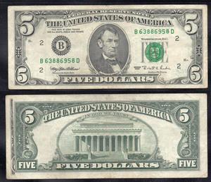 5 долларов 1995 США